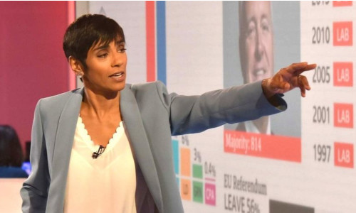 Reeta Chakrabarti analyzing election results on television for the BBC